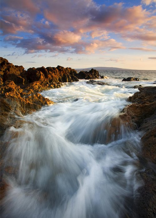 Hawaii Greeting Card featuring the photograph Sunrise Surge by Mike Dawson