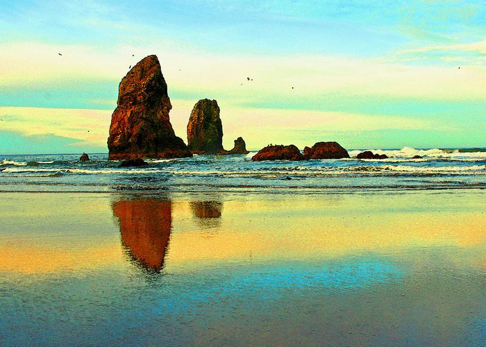 Cannon Beach Greeting Card featuring the photograph Sunrise The Needles At Cannon Beach by Margaret Hood