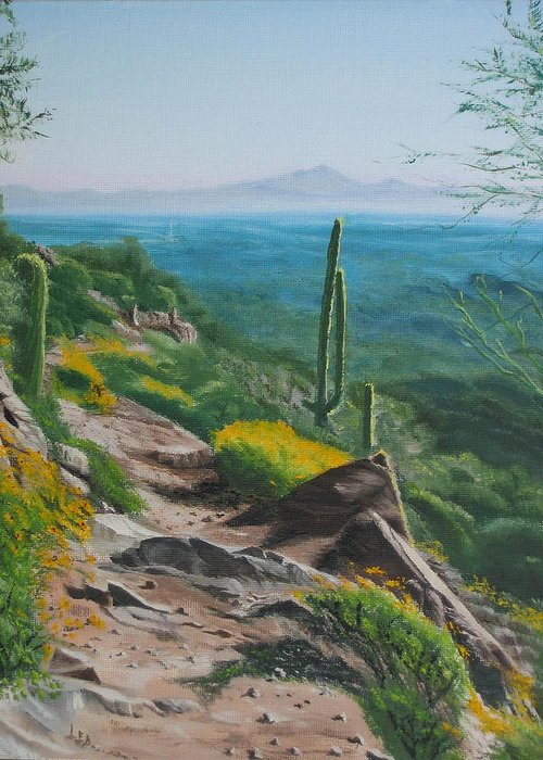 Landscape Greeting Card featuring the painting Sunrise Trail by Lea Novak
