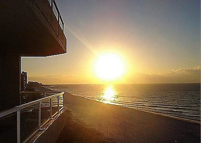Sunrise Greeting Card featuring the photograph Sunrise View From The Balcony by Amber Gabriel
