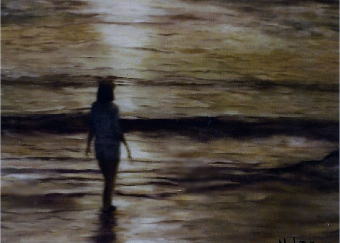 Figure Greeting Card featuring the painting Sunrise Walk In The Sea by Fran Rittenhouse-McLean