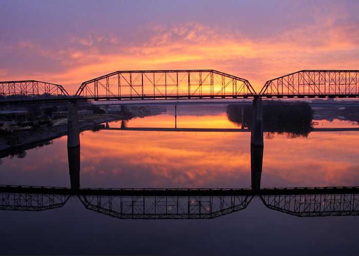 Walnut Street Bridge Greeting Card featuring the photograph Sunrise Walnut Street Bridge 2 by Tom and Pat Cory