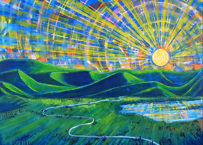 Sun Greeting Card featuring the painting Sunscape by Rollin Kocsis