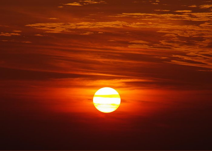 Sun Greeting Card featuring the photograph Sunset 10 by Don Prioleau