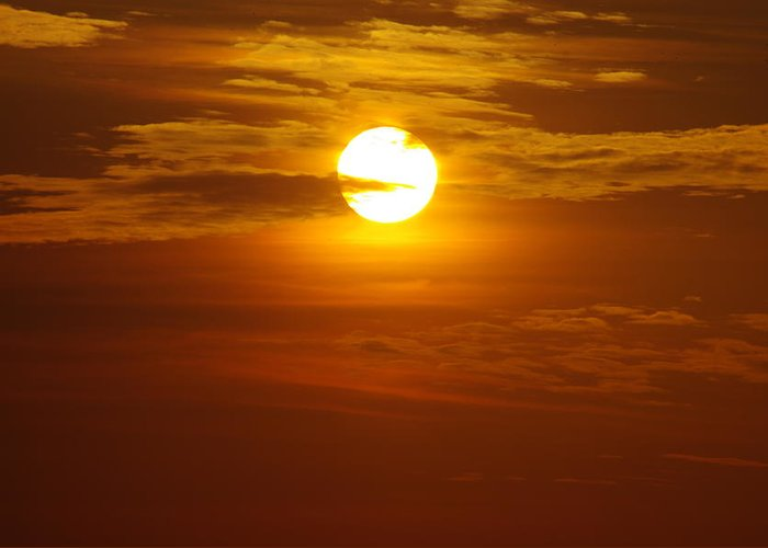 Sun Greeting Card featuring the photograph Sunset 3 by Don Prioleau