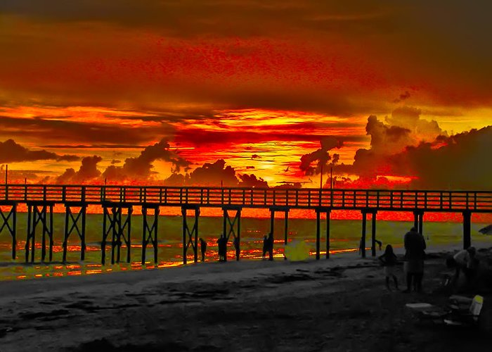 St. Petersburg Greeting Card featuring the photograph Sunset 4th Of July by Bill Cannon