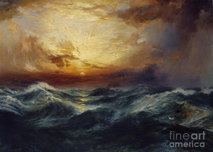 Sunset After A Storm Greeting Card featuring the painting Sunset After A Storm by Thomas Moran