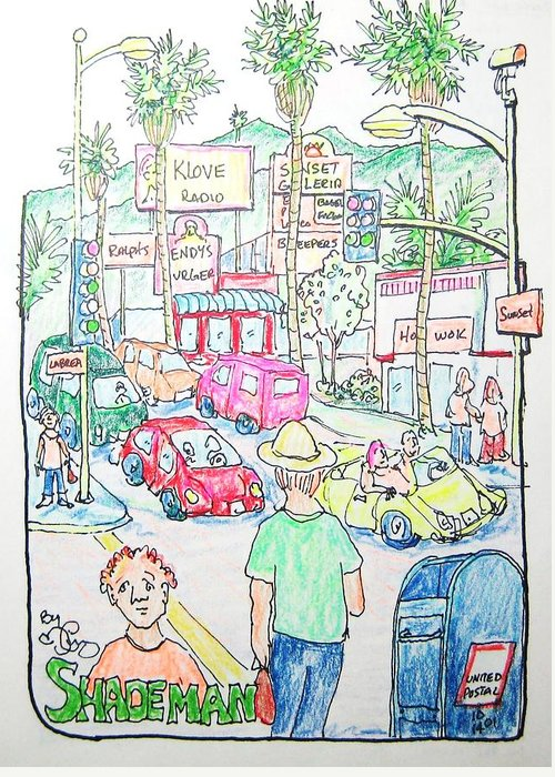 Pencil Greeting Card featuring the drawing Sunset And Labrea In Hollywood by Robert Findley