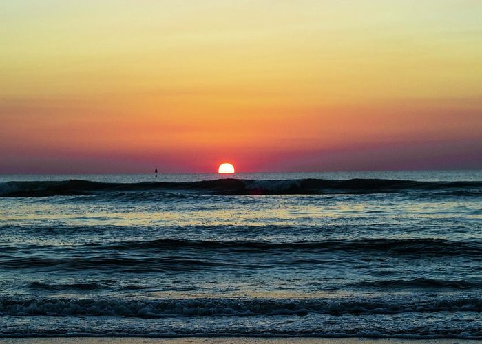 Sunset Greeting Card featuring the photograph Sunset And Waves by Gayne Dorio