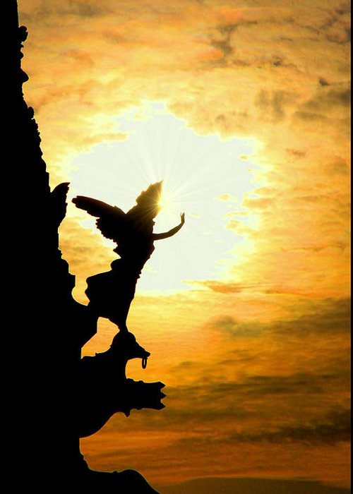 Sunset Greeting Card featuring the photograph Sunset Angel by Valentino Visentini
