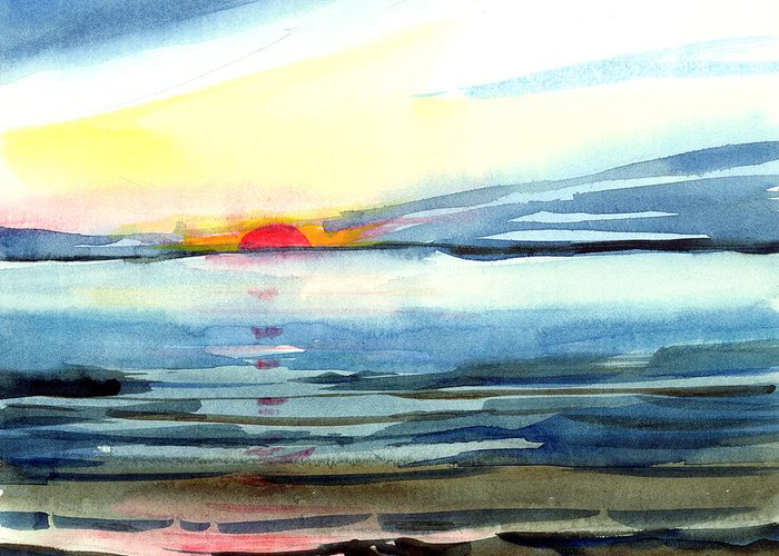 Landscape Seascape Ocean Water Watercolor Sunset Greeting Card featuring the painting Sunset by Anil Nene