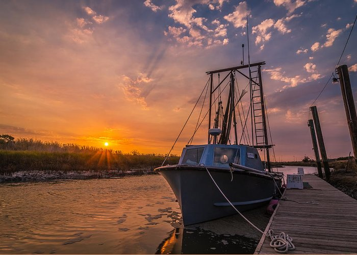 Boat Greeting Card featuring the photograph Sunset At Alviso by Ian Aldridge
