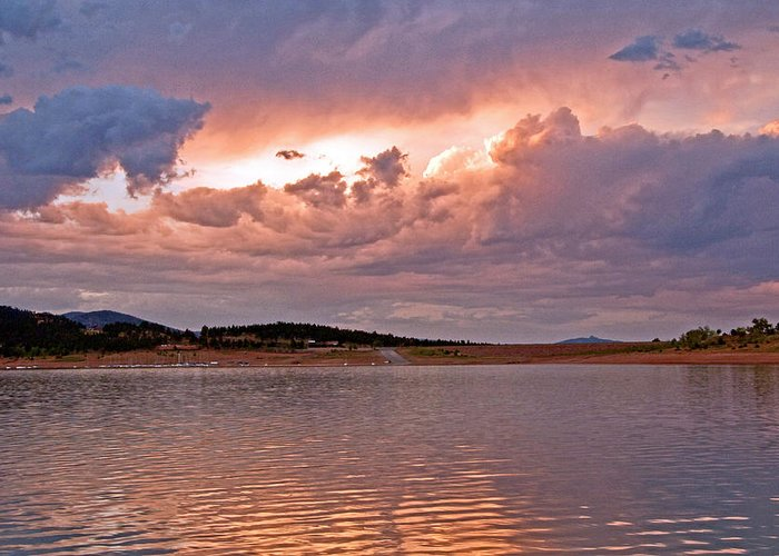 Fine Art Greeting Cards. Fine Art Sunset Picture. Sunset Pictures. Fin Art Cloud Picture. Cloud Canvas Prints. Fine Art Water Picture. Water Greeting Cards. Sunset Greeting Cards. Fine Art Nature Cards. Landscape Gretting Cards. Water Clouds Camping Boating Swimming Water Sking Sunset Canvas Prints. Trees. Greeting Card featuring the photograph Sunset At Carter Lake Colorado by James Steele