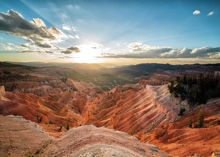 Brian Head Peak Greeting Card featuring the photograph Sunset At Cedar Breaks by Tony Fuentes