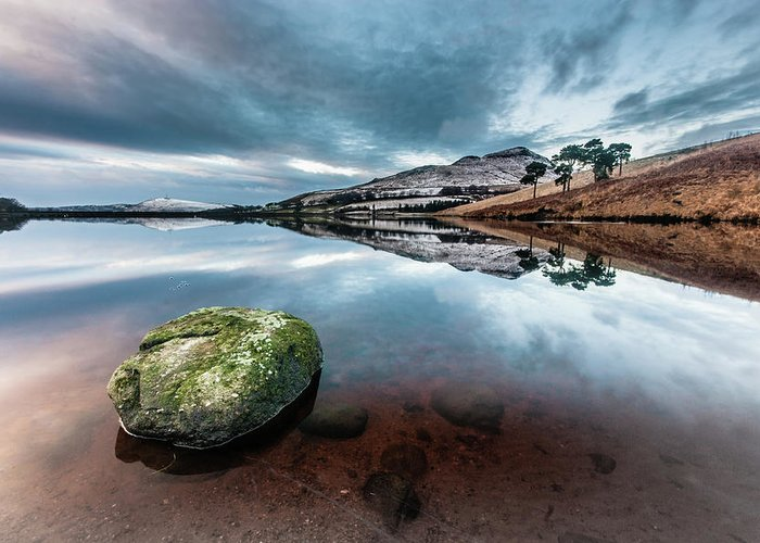 Sunset Greeting Card featuring the photograph Sunset at Dovestone Reservoir, Greater Manchester, North West England by Anthony Lawlor