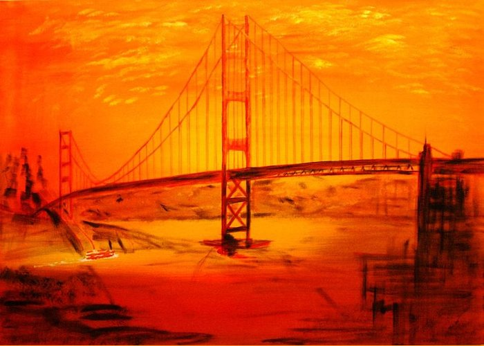 Sunset At Golden Gate Greeting Card featuring the painting Sunset At Golden Gate by Helmut Rottler
