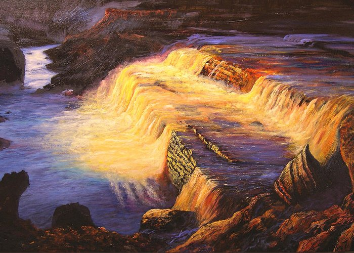 Connie Tom Greeting Card featuring the painting Sunset At Grand Falls by Connie Tom