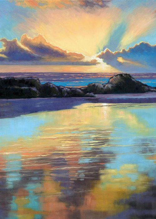 Beach Greeting Card featuring the painting Sunset At Havika Beach by Janet King