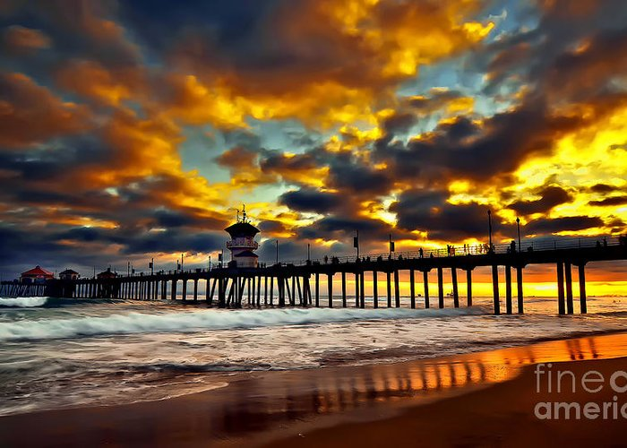 Huntington Beach Greeting Card featuring the photograph Sunset At Huntington Beach Pier by Peter Dang