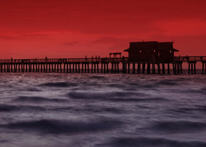 Usa Greeting Card featuring the photograph Sunset At Naples Pier by Melanie Viola