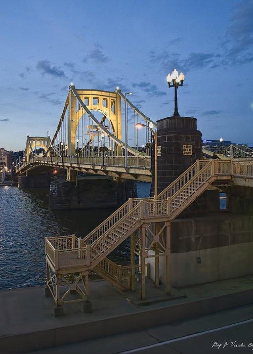Roberto Clemente Bridge Greeting Card featuring the photograph Sunset At Roberte Clemente Bridge by Dirk VandenBerg