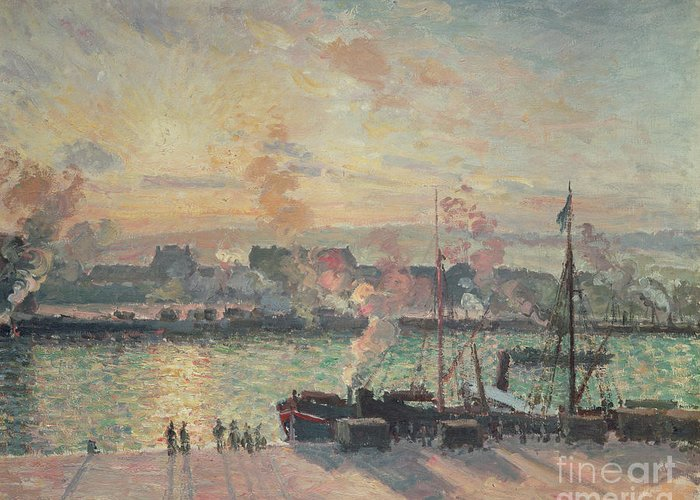 Sunset Greeting Card featuring the painting Sunset At Rouen by Camille Pissarro