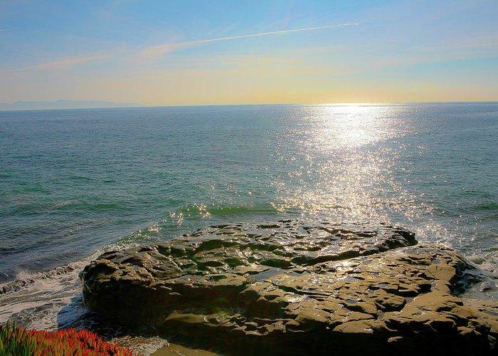 Sunsets Greeting Card featuring the photograph Sunset At Sea Santa Cruz Ca by Liz Santie