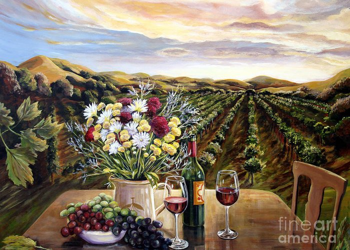 Sunset Greeting Card featuring the painting Sunset At The Vineyards by Nancy Isbell