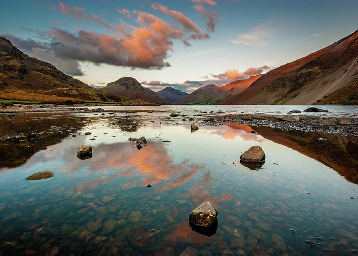 Sunrise Greeting Card featuring the photograph Sunset at Wast Water #1, Wasdale, Lake District, England by Anthony Lawlor