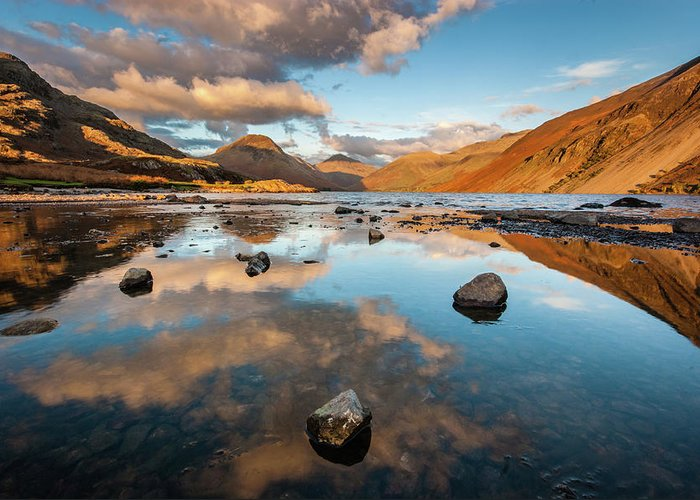 Sunrise Greeting Card featuring the photograph Sunset at Wast Water #3, Wasdale, Lake District, England by Anthony Lawlor