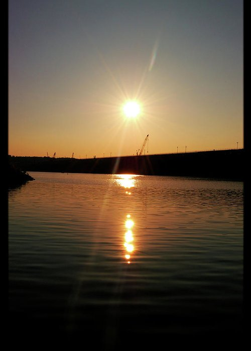 Lake Greeting Card featuring the photograph Sunset At Wolf Creek Dam by Amber Flowers