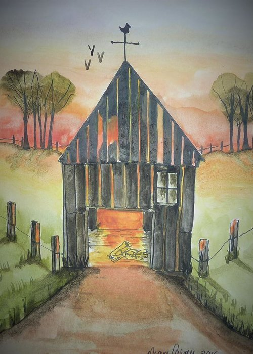 Barn Greeting Card featuring the painting Sunset Barn by Diane Palmer