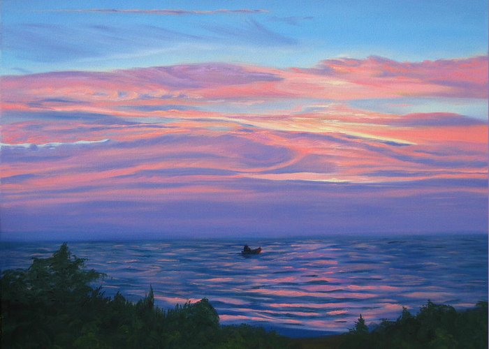 Seascape Greeting Card featuring the painting Sunset Bay by Lea Novak