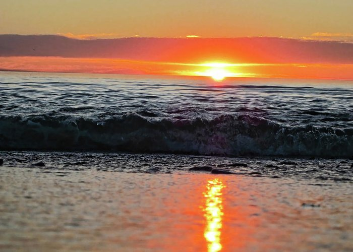 Waves Greeting Card featuring the photograph Sunset Beach by Douglas Barnard