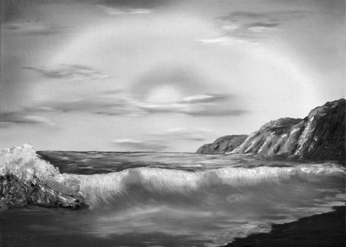 Black And White Greeting Card featuring the painting Sunset Beach Pastel Splash In Black And White by Claude Beaulac