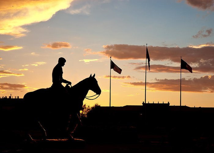 Texas Tech University Greeting Card featuring the photograph Sunset Behind Will Rogers And Soapsuds Statue At Texas Tech University In Lubbock by Ilker Goksen