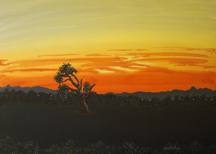 Landscape Greeting Card featuring the painting Sunset By The Old Tree by Nick Petkov