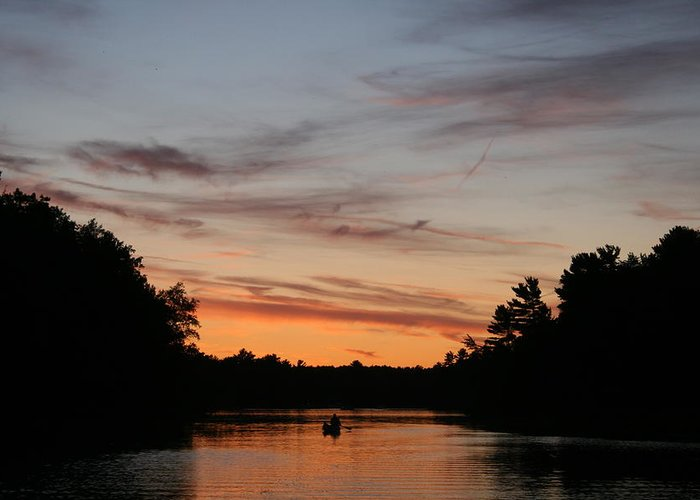 Canoe Greeting Card featuring the photograph Sunset Canoe by Ty Helbach
