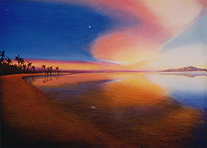 Surreal Painting Greeting Card featuring the painting Sunset Clearing by Sharon Ebert