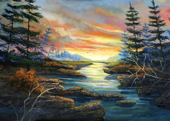 Landscape Greeting Card featuring the painting Sunset Creek by Brooke Lyman