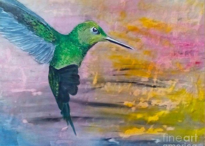 Hummingbird Greeting Card featuring the painting Sunset Dancer by J Bauer