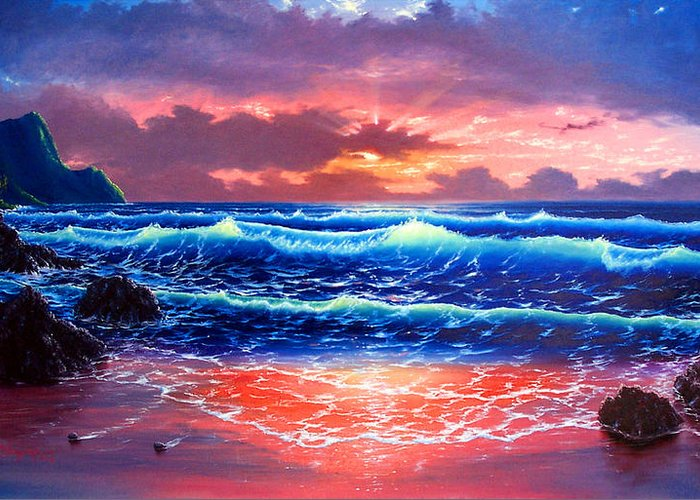 Sea Greeting Card featuring the painting Sunset by Daniel Bergren