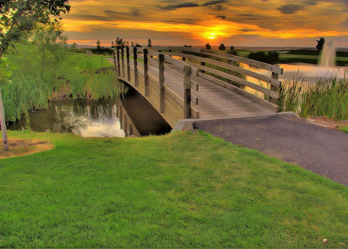 Landscape Greeting Card featuring the photograph Sunset Foot Bridge by Dale Stillman
