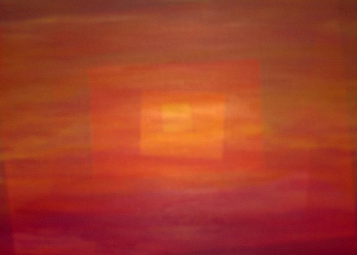 Rectangles Sunset Abstract Bright Greeting Card featuring the painting Sunset For Sarah by Sally Van Driest
