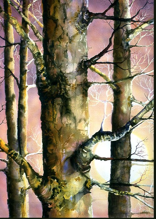 Trees Greeting Card featuring the painting Sunset Forest by Connie Williams