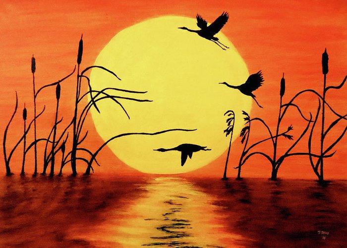 Geese Paintings Greeting Cards