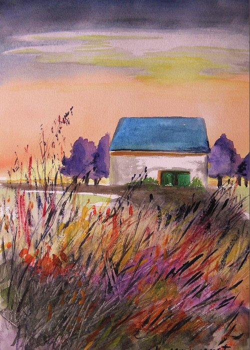 Watercolor Greeting Card featuring the painting Sunset Grasses by John Williams