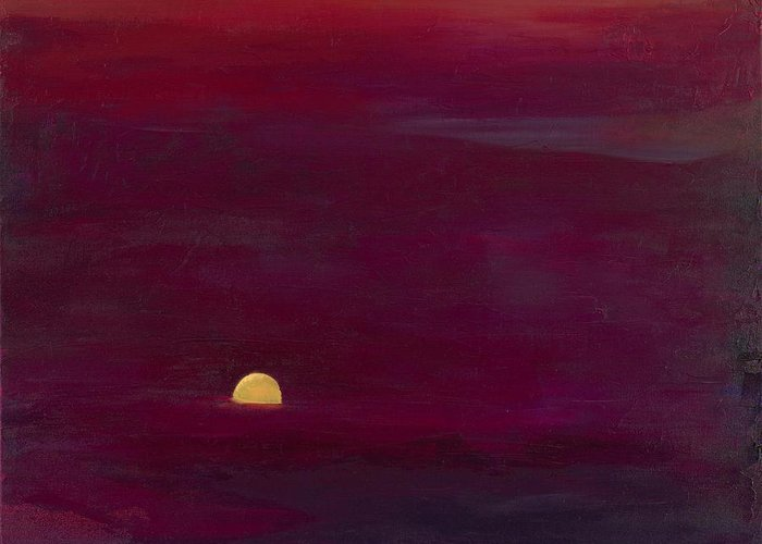 Landscape Greeting Card featuring the painting Sunset by Hannah Doty