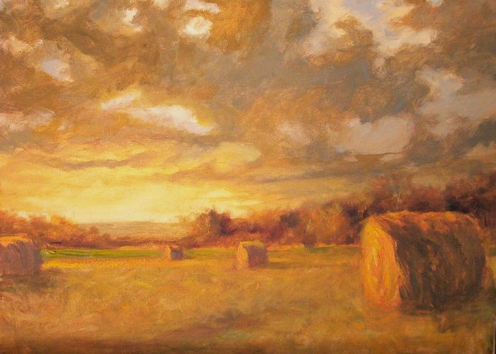 Osage Greeting Card featuring the painting Sunset Hay Bales by Margaret Aycock