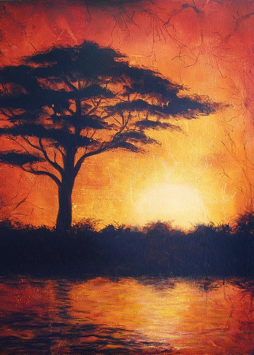 Tree Greeting Card featuring the painting Sunset In Africa In Bright Orange Tones With A Tree Silhouette Beautiful Colorful Painting by Jozef Klopacka